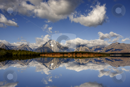 Grand Teton National Park stock photo, Greflections of the Grand Tetons on Jackson Lake by Mark Smith