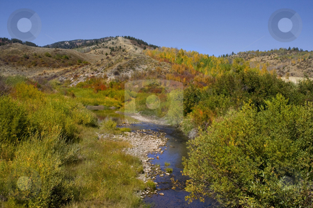 Autum Stream stock photo, Mountain Stream is the fall showing  autumn colors by Mark Smith