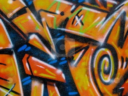 Segment of graffiti stock photo, Segment of graffiti on side of derelict building by Antony Zacharias