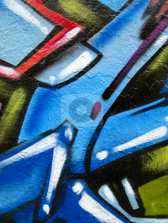 Segment of graffit stock photo, Segment of graffiti on side of derelict building by Antony Zacharias