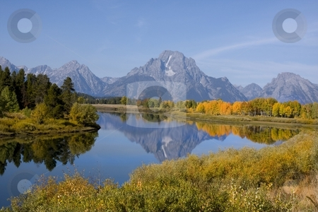 Grand Teton National Park stock photo, Mt Moran In Grand Teton National Park by Mark Smith