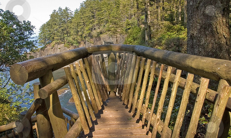 Beautiful Scenic Lookout stock photo, This beautiful scenic lookout overlooks an ocean from a mountain view at Cape Flattery Washington. by Valerie Garner