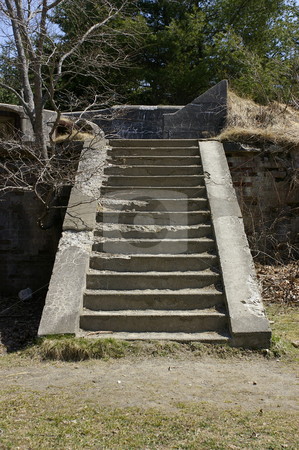Crumbling Stairs stock photo, An adandon set of concrete stairs that have benn left to crumble. by Tom Weatherhead