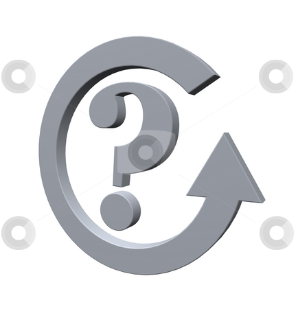 Quest stock photo, Question mark and cycle pointer - 3d illustration by J?