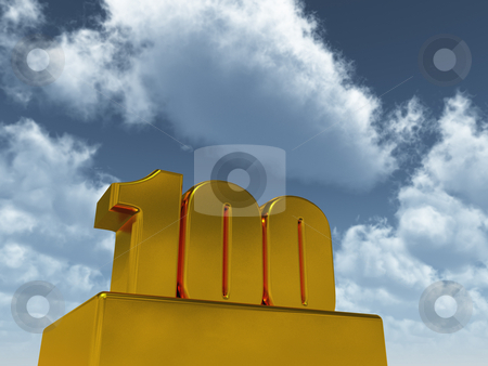 Einhundert stock photo, The number one hundred in front of blue sky - 3d illustration by J?