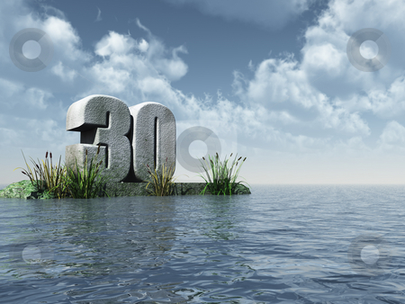 Thirty stock photo, The number thirty - 30 -  at the ocean - 3d illustration by J?