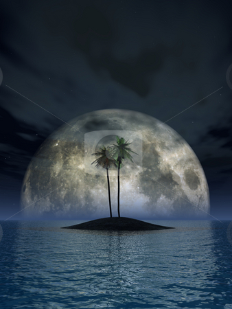 Palms stock photo, Lonely islands with palms and full moon - 3d illustration by J?