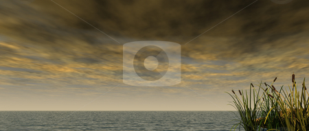 Storm stock photo, Water landscape with dark cloudy sky and reed - 3d illustration by J?