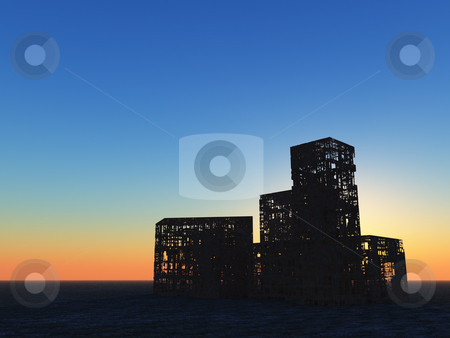 Ruins stock photo, Destroyed buildings in the sunset - 3d illustration by J?