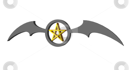 Pentagram stock photo, Batwings and pentagram on white background - 3d illustration by J?