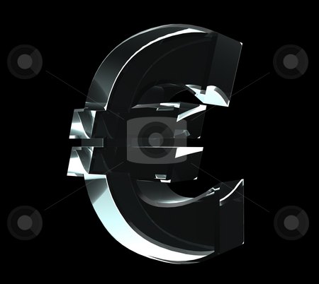 Euro stock photo, Glass euro symbol on black background - 3d illustration by J?