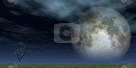 Full moon stock photo, Lonely tree at green field and full moon - 3d illustration by J?