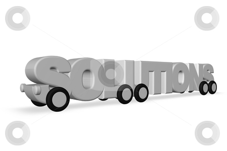 Solutions stock photo, The word solutions on wheels - 3d illustration by J?