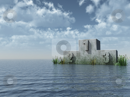 Win stock photo, Winner podium at the ocean in front of blue sky - 3d illustration by J?