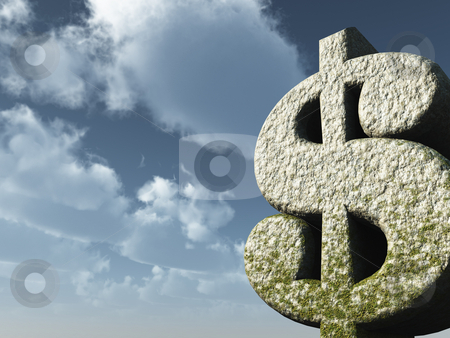 Dollar monument stock photo, Stone dollar sign in front of cloudy sky - 3d illustration by J?