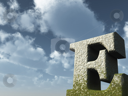 Big e stock photo, Letter E rock in front of blue sky - 3d illustration by J?