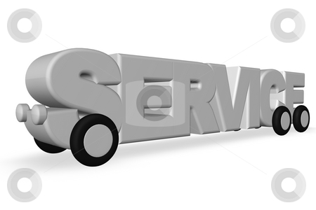 Service stock photo, The word service on wheels on white background - 3d illustration by J?