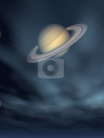 Saturn stock photo, The planet saturn and stars - 3d illustration by J?