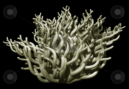 Tentacles stock photo, Abstract organic tentacles on black background - 3d illustration by J?