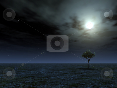 Full moon stock photo, Lonely tree and full moon - 3d illustration by J?