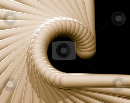 Abstract snail stock photo, Abstract organic form on black background - 3d illustration by J?