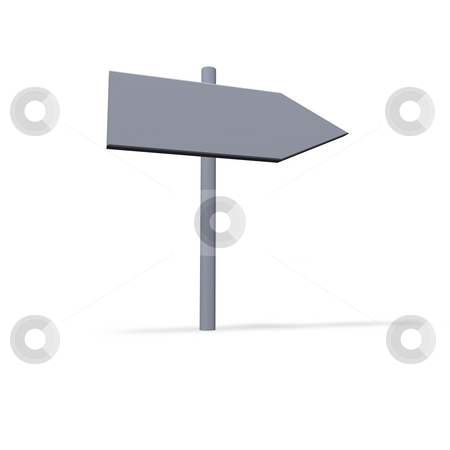 Sign stock photo, Blank road guide on white background - 3d illustration by J?