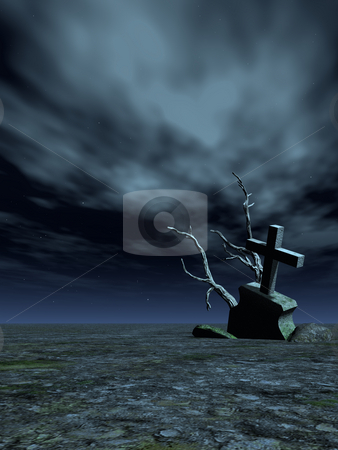 Grave stock photo, Gravestone and dead trees in the night - 3d illustration by J?