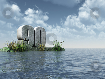 Ninety stock photo, The number ninety - 90 -  at the ocean - 3d illustration by J?