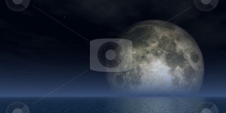 Full moon stock photo, Full moon over the ocean - 3d illustration by J?