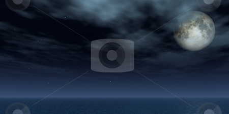 Full moon stock photo, Full moon and stars over the ocean - 3d illustration by J?