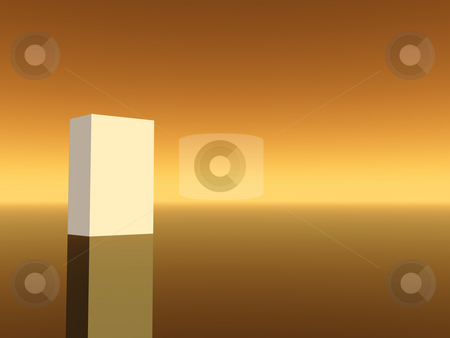 White box stock photo, White box on warm brown background- 3d illustration by J?