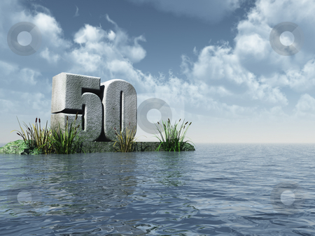 Fifty stock photo, The number fifty - 50 -  at the ocean - 3d illustration by J?