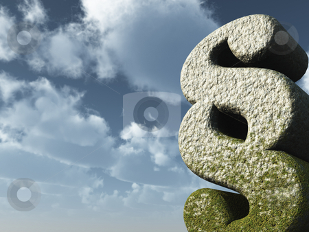 Law stock photo, Paragraph symbol rock in front of blue sky - 3d illustration by J?