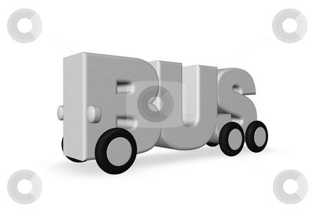 Bus stock photo, The word bus on wheels - 3d illustration by J?