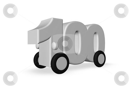 One hundred stock photo, The number one hundred on wheels on white background - 3d illustration by J?
