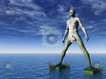 Punk stock photo, Stone punk monument at the ocean - 3d illustration by J?