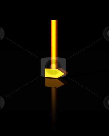 Hammer stock photo, Golden hammer on black background - 3d illustration by J?