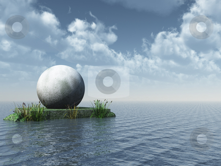 Monument stock photo, Ball monument at the ocean - 3d illustration by J?