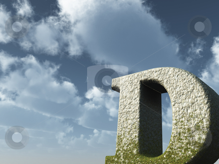 Big D stock photo, Letter D rock in front of blue sky - 3d illustration by J?