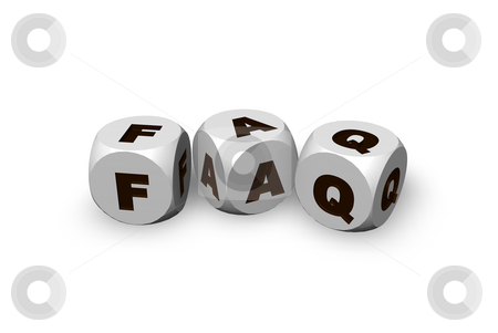 Faq stock photo, Three dices with the letters faq - 3d illustration by J?
