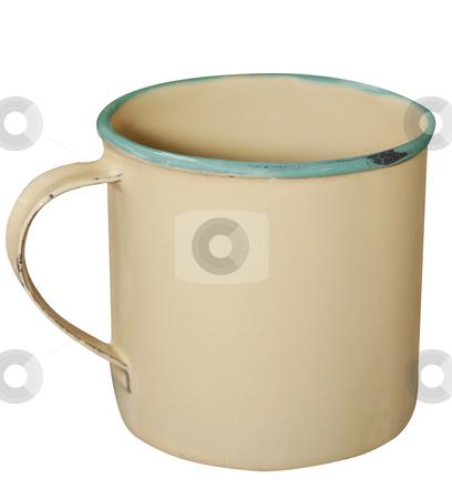 Cream and Green Enamel Mug stock photo, Cream and Green Enamel Mug isolated with clipping path. by Margo Harrison
