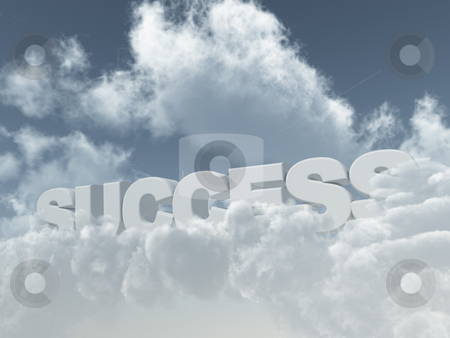 Success stock photo, The word success in the sky with fluffy clouds - 3d illustration by J?