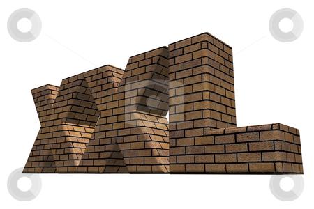 Xxl stock photo, Xxl brick wall on white background - 3d illustration by J?