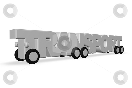 Transport stock photo, The word transport on wheels on white background - 3d illustration by J?
