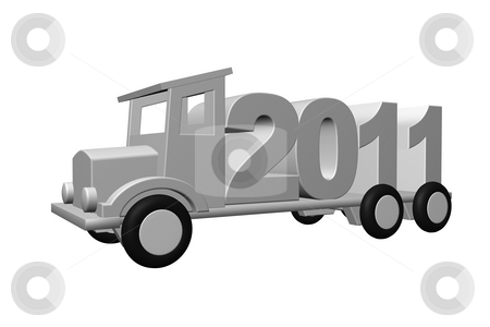 2011 stock photo, The year 2011 on an old truck - 3d illustration by J?