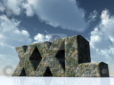 Xxl stock photo, The letters XXL rock in front of blue sky - 3d illustration by J?
