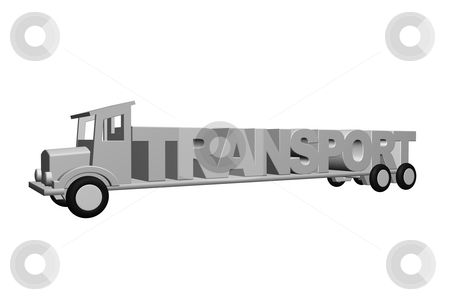 Transport stock photo, An old truck transports the word transport - 3d illustration by J?