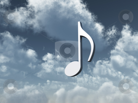Sound stock photo, Music note in the sky - heavenly sound - 3d illustration by J?