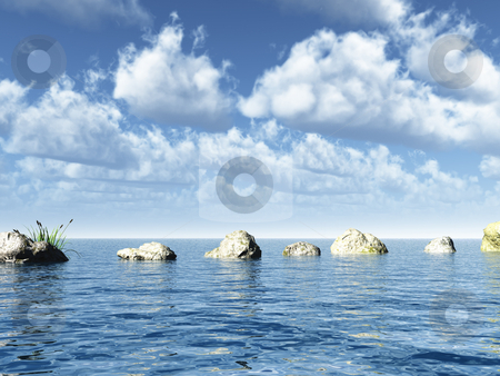 Stones stock photo, Water landscape and stones in front of blue cloudy sky - 3d illustration by J?