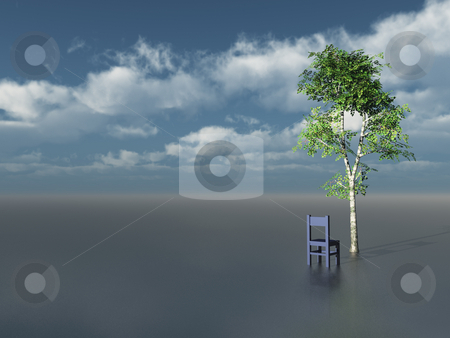 Lonely stock photo, Lonely tree and chair in front of blue cloudy sky - 3d illustration by J?
